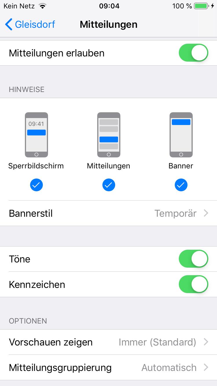 Screenshot der Gleisdorf-App iOS Mitteilungseinstellungen