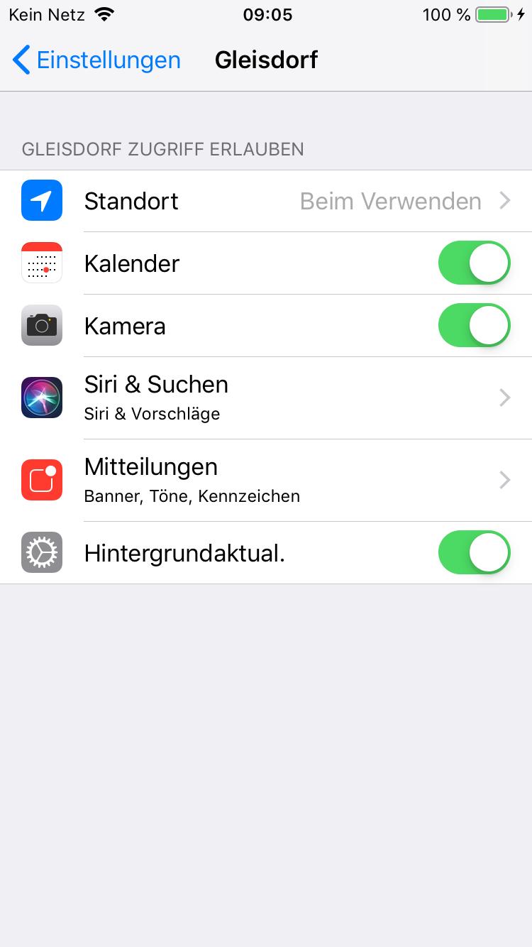 Screenshot der Gleisdorf-App iOS Einstellungen